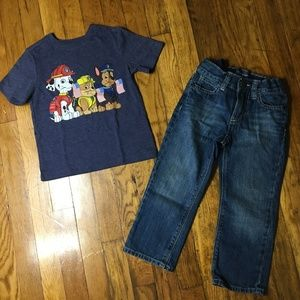 Boys 2 Piece Old Navy T-Shirt and Jeans